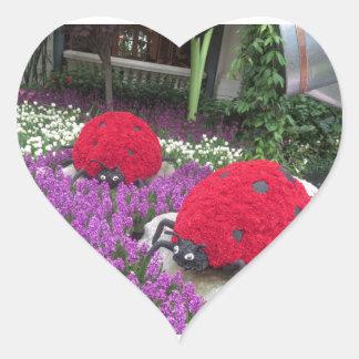 Lady BUGS n pink FLOWERS Butterfly Garden Gifts Heart Sticker