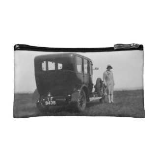 Lady & Car Vintage Image Small Cosmetic Bag