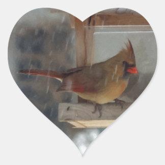 Lady Cardinal Painting Heart Sticker