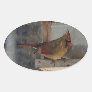 Lady Cardinal Painting Oval Sticker