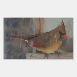Lady Cardinal Painting Rectangular Sticker