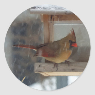 Lady Cardinal Painting Round Stickers