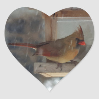 Lady Cardinal Painting Heart Stickers