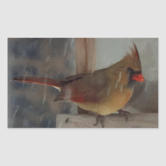Lady Cardinal Painting Rectangle Stickers