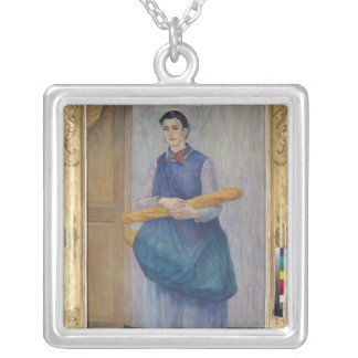Lady Carrying Bread, 1889 Square Pendant Necklace