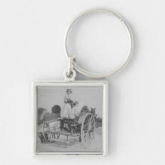 Lady & Cart Black & White Premium Square Keychain