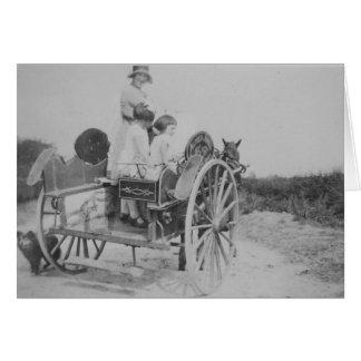 Lady & Cart Vintage Black & White Greeting Card