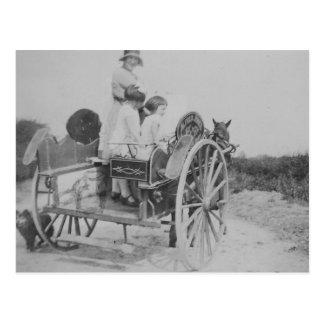Lady & Cart Vintage Old Black & White Postcard