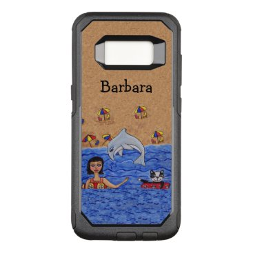 Beach Themed Lady Cat Dolphin Swimming in Ocean Sandy Beach OtterBox Commuter Samsung Galaxy S8 Case