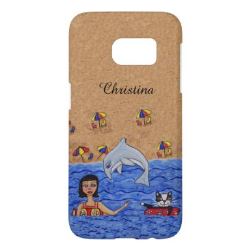 Beach Themed Lady Cat Inner Tubes in Ocean Jumping Gray Dolphin Samsung Galaxy S7 Case