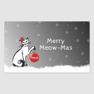 Lady Cat shows your Christmas wishes! Rectangular Sticker