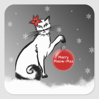Lady Cat shows your Christmas wishes! Square Sticker