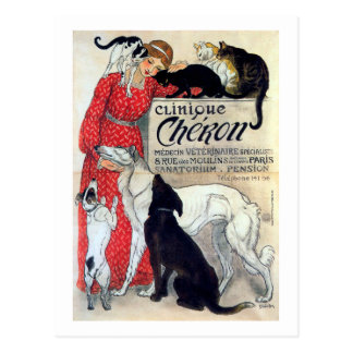 Lady, Cats, & Dogs, Alexandre Steinlen Postcard
