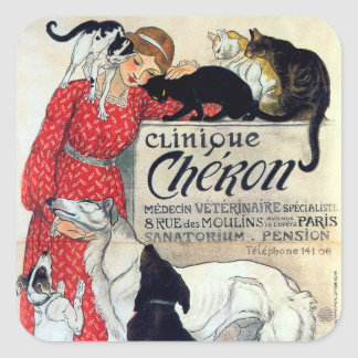 Lady, Cats, & Dogs, Alexandre Steinlen Square Sticker
