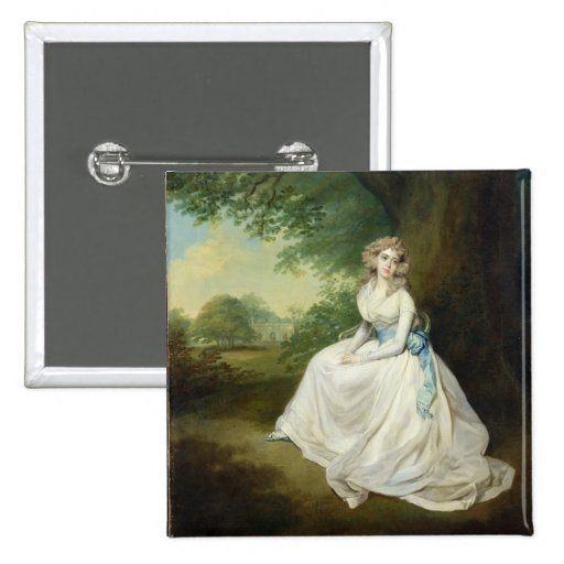 Lady Chambers, c.1789 (oil on canvas) 2 Inch Square Button