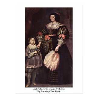 Lady Charlotte Butke With Son By Anthony Van Dyck Post Card