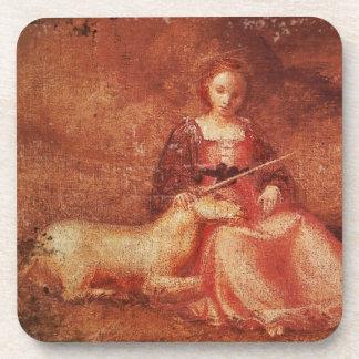Lady Chastity Holding Unicorn Beverage Coaster