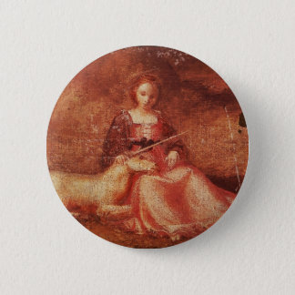 Lady Chastity Holding Unicorn Pinback Button