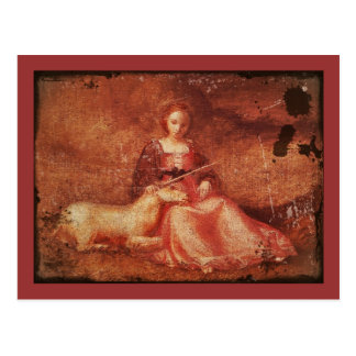 Lady Chastity Holding Unicorn Postcard