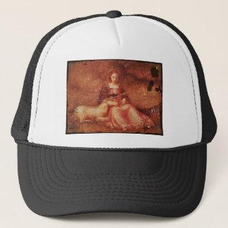 Lady Chastity Holding Unicorn Trucker Hat