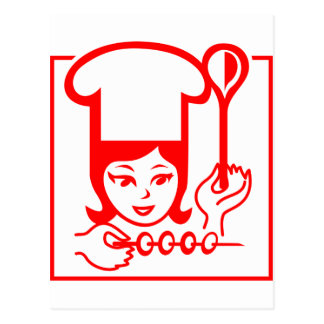Lady Chef Post Card