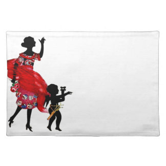 Lady Cherub Silhouette Fabric Vintage Print Cloth Placemat