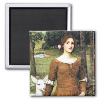 Lady Clare with a Fawn 2 Inch Square Magnet