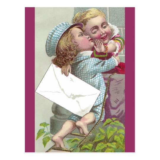 Lady Coyly Fends Off Kiss Postcard