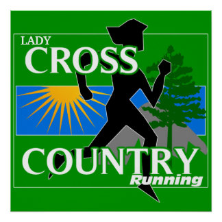 Lady Cross Country Running Poster