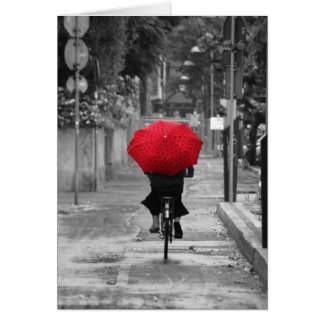 Lady Cyclist with Red Umbrella Florence Italy Card