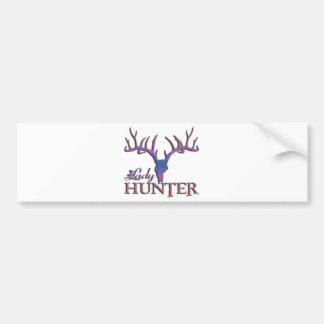 LADY DEER HUNTER BUMPER STICKER