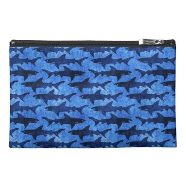Beach Themed Lady Diver Blue Sharks in the Ocean Travel Accessories Bags