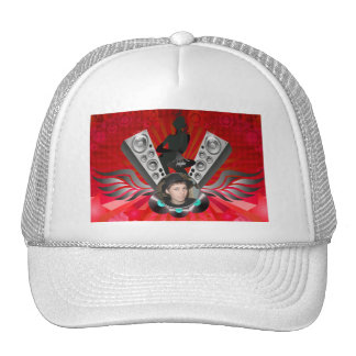 Lady DJ Speakers Pumping Add Your Photo Trucker Hat