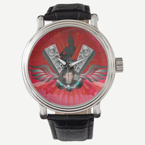Lady DJ Speakers Pumping Add Your Photo Wrist Watch