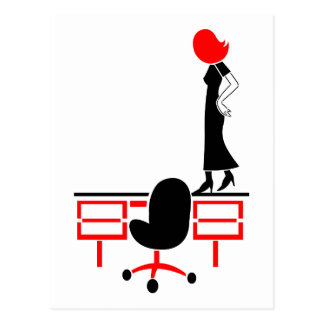 Lady Does The Desk Walk Postcard