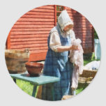 Lady Doing Laundry Round Sticker