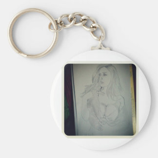 Lady drawing basic round button keychain