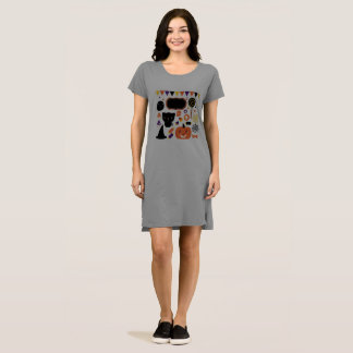 Lady dress with Halloween creatures