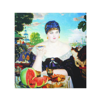 Lady Drinking Tea with Cat Canvas Print