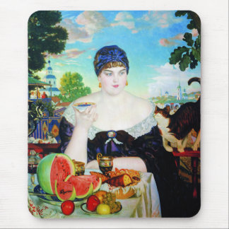 Lady Drinking Tea with Cat Mouse Pads