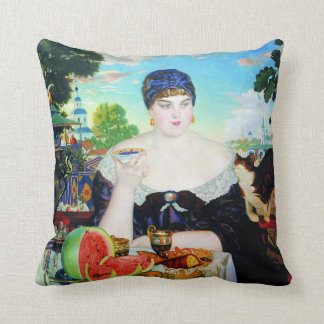 Lady Drinking Tea with Cat Throw Pillow