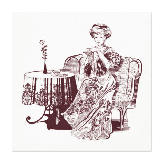 lady drinks tea canvas print