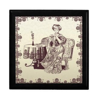 lady drinks tea jewelry box