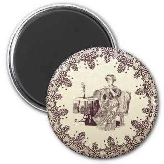 lady drinks tea 2 inch round magnet