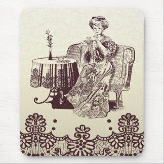 lady drinks tea mouse pad