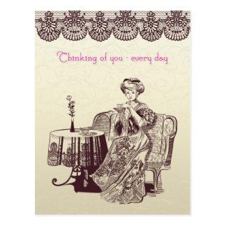 lady drinks tea postcard