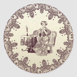 lady drinks tea classic round sticker