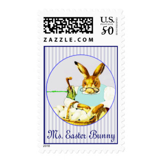 Lady Easter Bunny With A Basket Full Of Eggs Postage