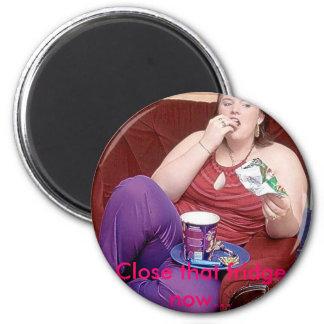 lady eating, Close that fridge now... Fridge Magnet