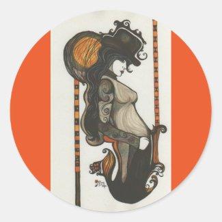 Lady Enigma Goddess Steampunk Style Round Stickers